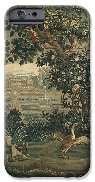 Architecture Tapestries - Textiles iPhone Cases - Verdure with Chateau and Garden iPhone Case by  The Widow Guillaume Werniers