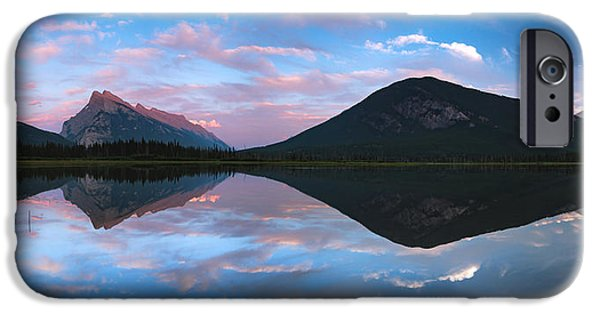 Summer iPhone Cases - Vermilion Lakes Panorama iPhone Case by Cale Best
