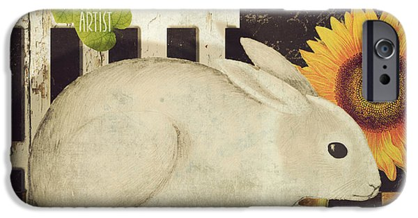 Sheep Paintings iPhone Cases - Vermont Farms Bunny Rabbit iPhone Case by Mindy Sommers