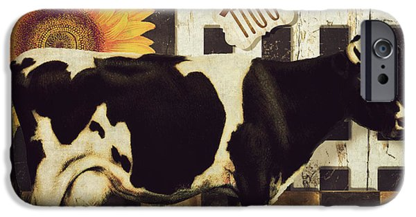 Sheep Paintings iPhone Cases - Vermont Farms Cow iPhone Case by Mindy Sommers