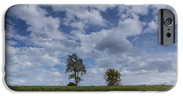 Field. Cloud iPhone Cases - Vermont hay field grass double trees clouds iPhone Case by Andy Gimino