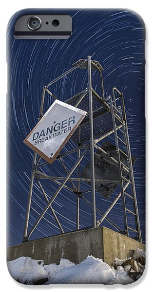 Freeze Warning iPhone Cases - Vermont-Star trails-Tower-night-winter iPhone Case by Andy Gimino