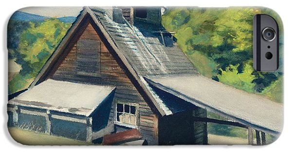 Watercolors Paintings iPhone Cases - Vermont Sugar House iPhone Case by Edward Hopper