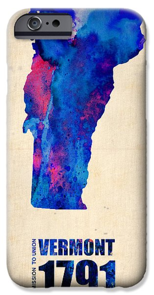 Us States iPhone Cases - Vermont Watercolor Map iPhone Case by Naxart Studio