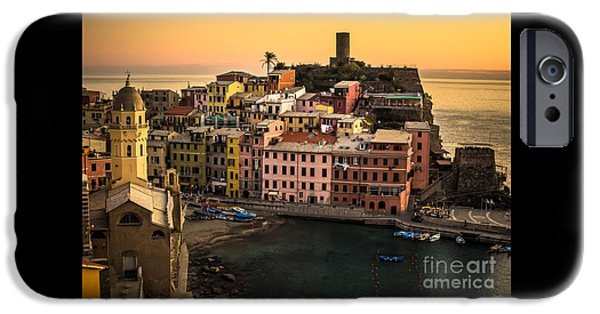 Charly iPhone Cases - Vernazza at Sunset iPhone Case by Prints of Italy