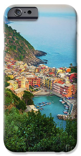 Recently Sold -  - Ocean Sunset iPhone Cases - Vernazza from above iPhone Case by Inge Johnsson