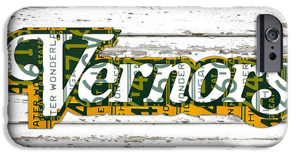 Barns Mixed Media iPhone Cases - Vernors Beverage Company Recycled Michigan License Plate Art on Old White Barn Wood iPhone Case by Design Turnpike