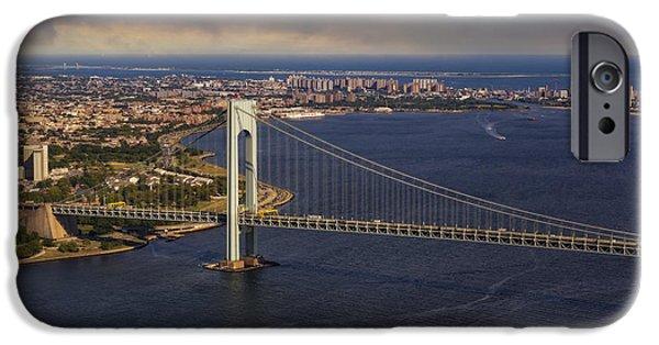 Hudson River iPhone Cases - Verrazano Narrows Bridge NYC iPhone Case by Susan Candelario
