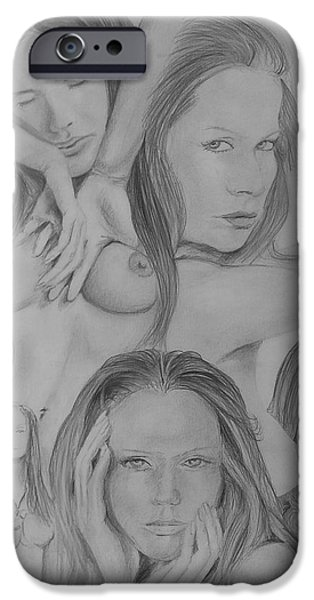 Montage Drawings iPhone Cases - Veruschka iPhone Case by Duncan Sawyer
