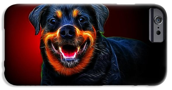 Police iPhone Cases - Very Merry Rottweiler iPhone Case by Alexey Bazhan