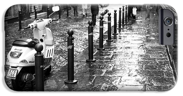 Rainy Day iPhone Cases - Vespa in the Rain iPhone Case by John Rizzuto