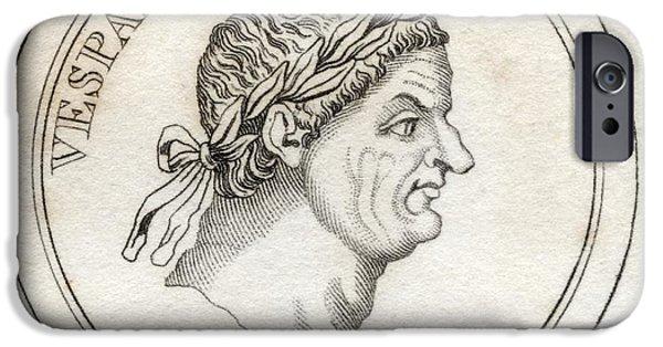 Flavius iPhone Cases - Vespasian Titus Flavius Sabinus iPhone Case by Vintage Design Pics