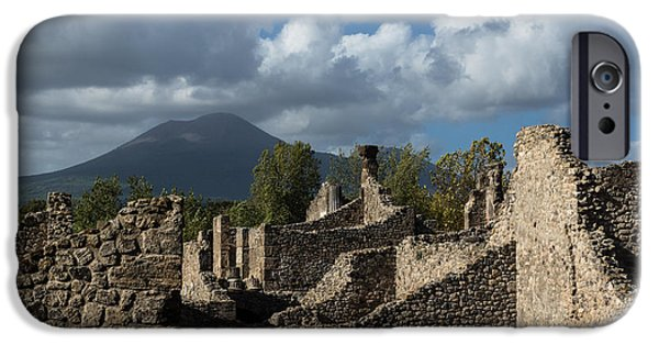 Turbulent Skies iPhone Cases - Vesuvius Volcano Towering Over the Pompeii Ruins iPhone Case by Georgia Mizuleva