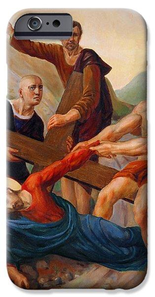 Jesus Christ Digital Art iPhone Cases - Via Dolorosa. Station 9 iPhone Case by Svitozar Nenyuk