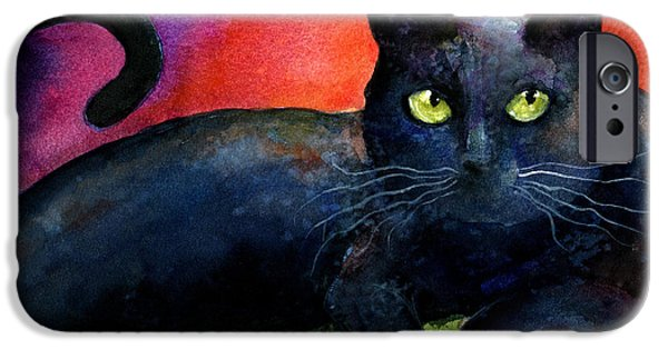 Black Portrait Drawings iPhone Cases - Vibrant Black Cat watercolor painting  iPhone Case by Svetlana Novikova
