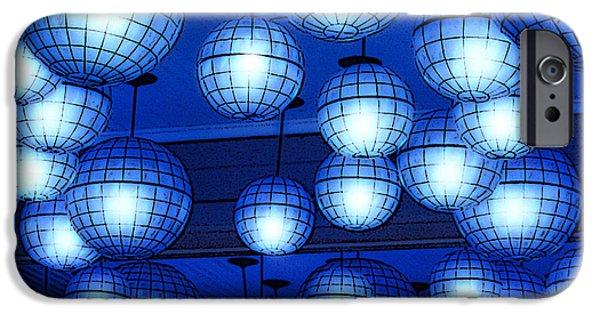 Shape iPhone Cases - Vibrant Blue Nightclub Lantern Lights Poster Edges Digital Art iPhone Case by Shawn O