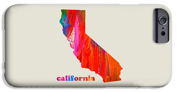 Vibrant Mixed Media iPhone Cases - Vibrant Colorful California State Map Painting iPhone Case by Design Turnpike