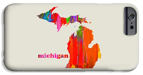 Vibrant Mixed Media iPhone Cases - Vibrant Colorful Michigan State Map Painting iPhone Case by Design Turnpike