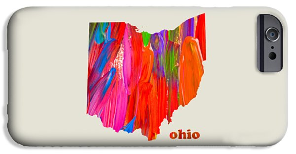 Vibrant Mixed Media iPhone Cases - Vibrant Colorful Ohio State Map Painting iPhone Case by Design Turnpike