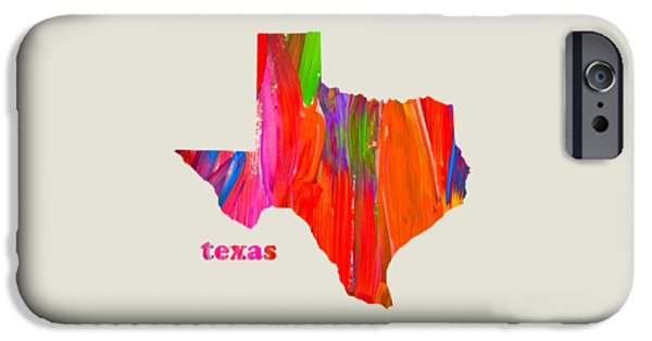 Vibrant Mixed Media iPhone Cases - Vibrant Colorful Texas State Map Painting iPhone Case by Design Turnpike