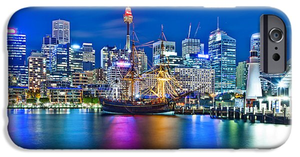 Big Cities iPhone Cases - Vibrant Darling Harbour iPhone Case by Az Jackson