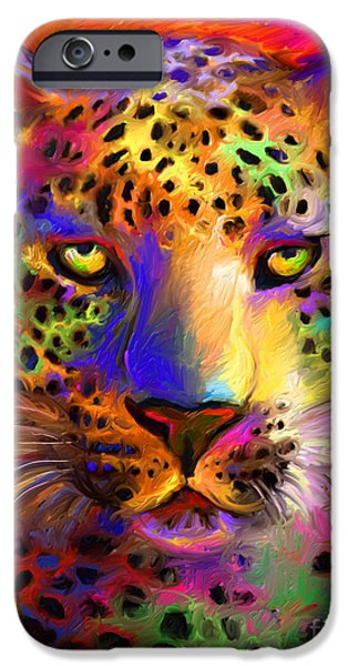 Safari iPhone Cases - Vibrant Leopard Painting iPhone Case by Svetlana Novikova