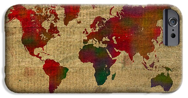 Sheets iPhone Cases - Vibrant Map of the World in Watercolor on Old Sheet Music and Newsprint iPhone Case by Design Turnpike