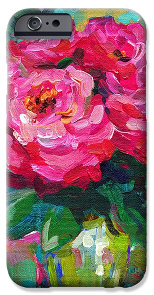 Nature Abstracts iPhone Cases - Vibrant Peony flowers in a vase still life painting iPhone Case by Svetlana Novikova