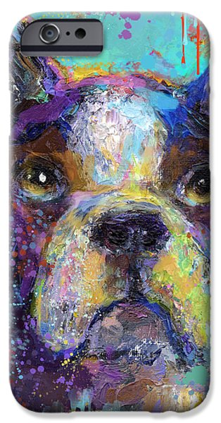 Vibrant Mixed Media iPhone Cases - Vibrant Whimsical Boston Terrier Puppy dog painting iPhone Case by Svetlana Novikova