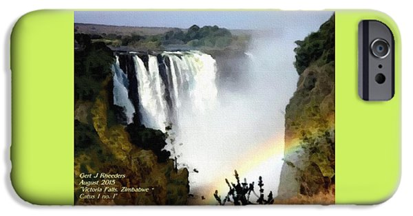 Business Pastels iPhone Cases - Victoria Falls Zimbabwe Catus 1 no. 1 H A iPhone Case by Gert J Rheeders