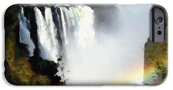 Business Pastels iPhone Cases - Victoria Falls Zimbabwe Catus 1 no. 1 H B iPhone Case by Gert J Rheeders