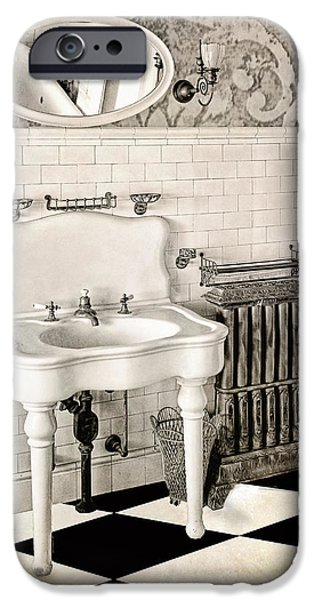 Sink iPhone Cases - Victorian Bathroom iPhone Case by Mindy Sommers