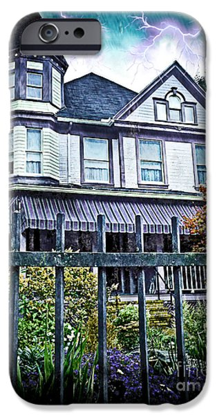Haunted House iPhone Cases - Victorian House With Spooky Lightening iPhone Case by Shelly Weingart