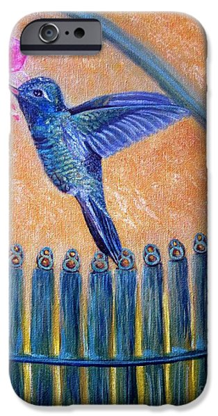 Garden Scene Paintings iPhone Cases - Victorian Hummingbird Garden-gate Surprise iPhone Case by Kimberlee  Baxter