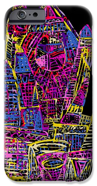 Asymmetrical iPhone Cases - Victorian In Red Blue and Yellow iPhone Case by F Burton