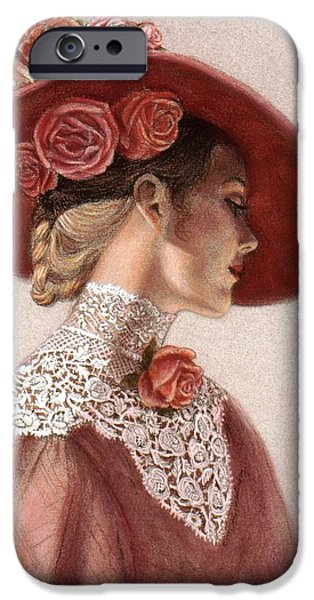 Hat iPhone Cases - Victorian Lady in a Rose Hat iPhone Case by Sue Halstenberg