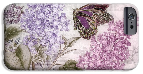 Lilacs iPhone Cases - Victorian Romance II iPhone Case by Mindy Sommers