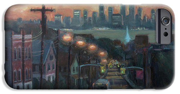 Twin Towers iPhone Cases - Victory Boulevard at Dawn iPhone Case by Sarah Yuster