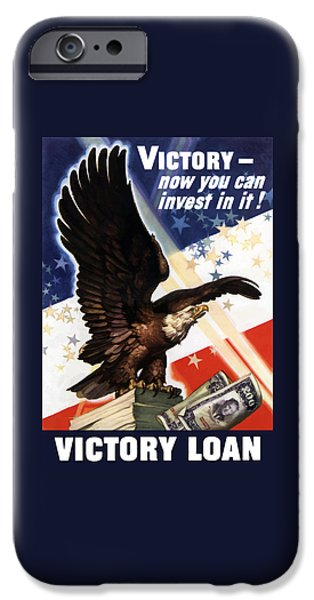 World War I iPhone Cases - Victory Loan Bald Eagle iPhone Case by War Is Hell Store