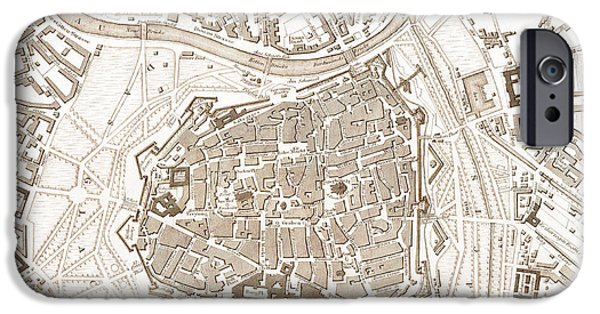 Old Digital Art iPhone Cases - Vienna Austria Antique Vintage City Map iPhone Case by ELITE IMAGE photography By Chad McDermott