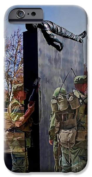 Soldiers National Cemetery Digital iPhone Cases - Vietnam Veterans Memories - In Oil Effect iPhone Case by Tommy Anderson