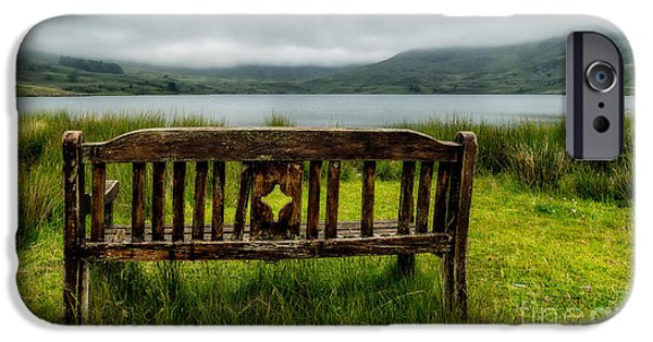 Bench iPhone Cases - View Across The Lake iPhone Case by Adrian Evans