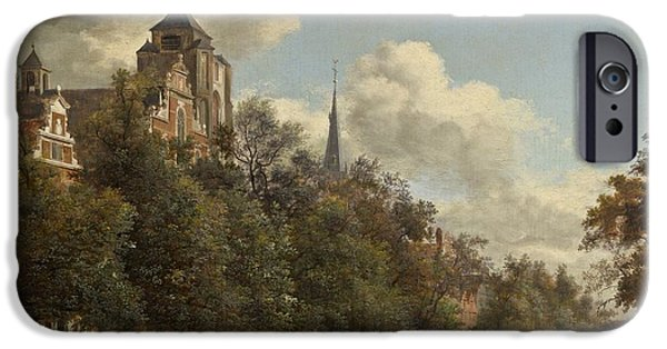 Canal Street Line iPhone Cases - View Down A Dutch Canal iPhone Case by Jan Van Der Heyden