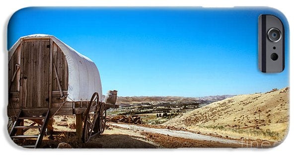 Haybale iPhone Cases - View From A Sheep Herder Wagon iPhone Case by Robert Bales