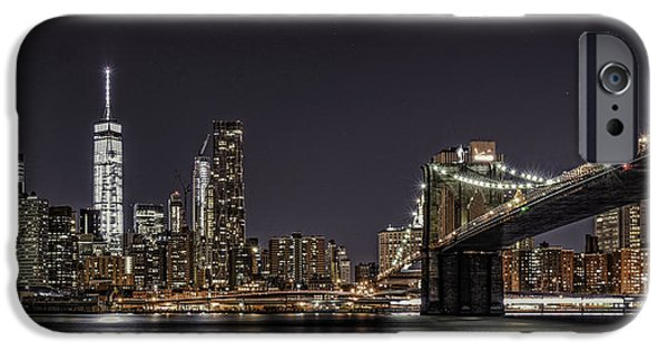 Freedom iPhone Cases - View from Brooklyn Bridge Park iPhone Case by Theodore Jones
