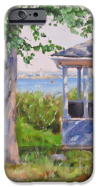 Boston Ma Paintings iPhone Cases - View from Pointe Allerton iPhone Case by Laura Lee Zanghetti