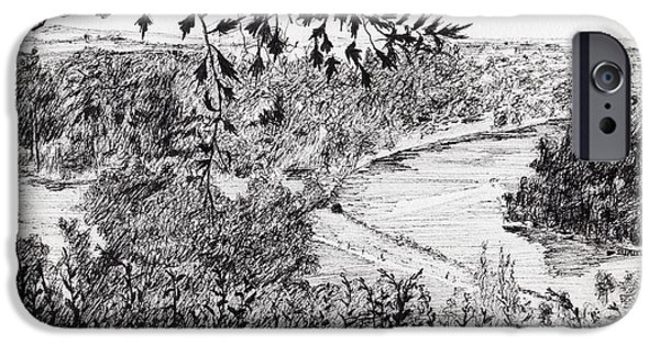 River View Drawings iPhone Cases - View from Richmond Hill iPhone Case by Vincent Alexander Booth