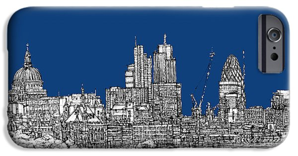 Skylines Pyrography iPhone Cases - View from the Southbank with summer blue skies iPhone Case by Lee-Ann Adendorff