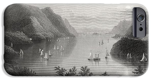 River View Drawings iPhone Cases - View From West Point Hudson River Usa iPhone Case by Ken Welsh