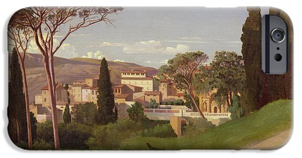 Nineteenth iPhone Cases - View of a Villa iPhone Case by Jean Achille Benouville